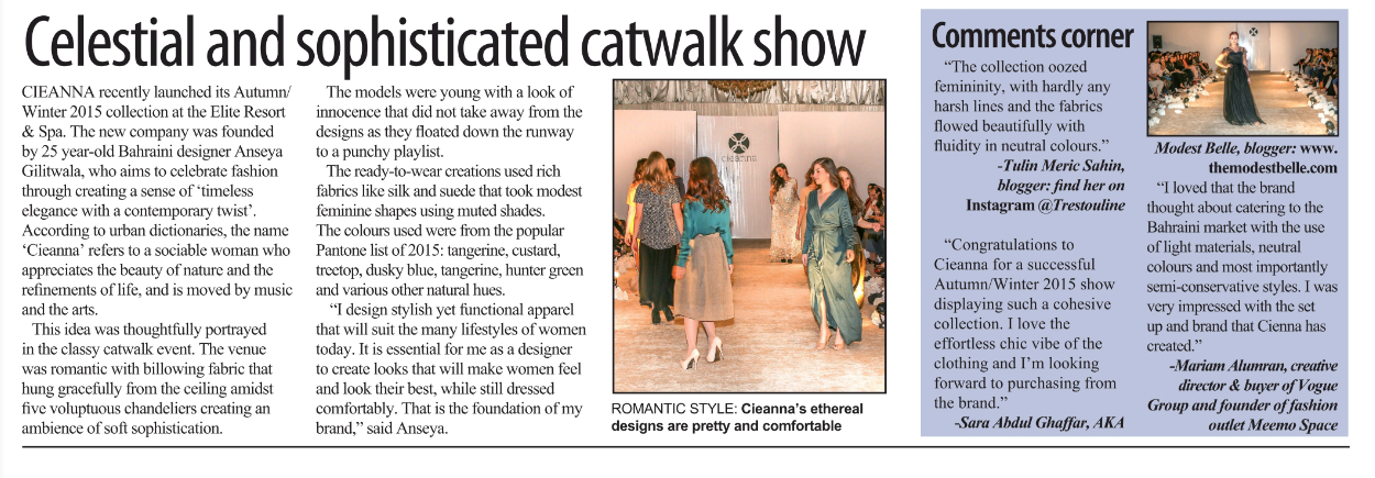 Gulf Weekly - Cieanna Event Coverage - 25 Feb 2015